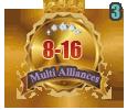 1st in three Multi Alliances 8-16 tournament